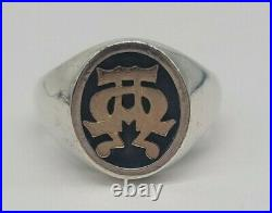 James Avery Alpha Omega Ring Sterling Silver 14k Yellow Gold Size 13