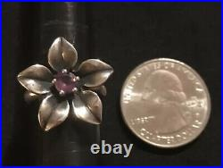 James Avery Amethyst Flower Purple Gemstone Ring Retired Size 5.75
