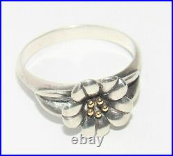 James Avery April Flower with Gold 14K Gold and SS Retired Ring Size 9