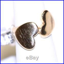 James Avery Artisan Jewelry 14K Yellow Gold Two Heart Pinky Ring Size 4.5 Apx 5g