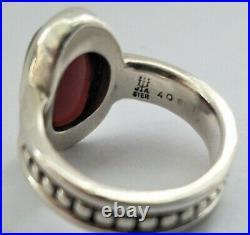 James Avery Beaded Oval Garnet Cabochon Ring 925 Retired HTF