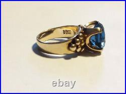 James Avery. Blue Topaz Ring. 14k. Size 6. Retired, Rare! (20004450)