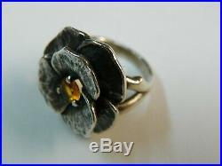 James Avery Citrine Flower Rose Ring Sterling Silver 925 Size 4.5