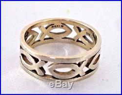 James Avery Continuous Ichthus Band Ring 14k Yellow Gold Size 10
