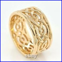 James Avery Designer Signed Woven 10.5mm 14K Yellow Gold Band Ring (50002858)