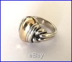 James Avery Dome Ring Sterling 925 Silver 14K Gold Large Heavy Size 10.25