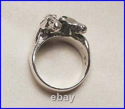 James Avery Double Horse Head Ring 925 Rare Retired Sz 6.5