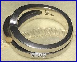 James Avery Enduring Bond 14k Gold 925 Sterling Silver Ring Sz 8¼ Retired