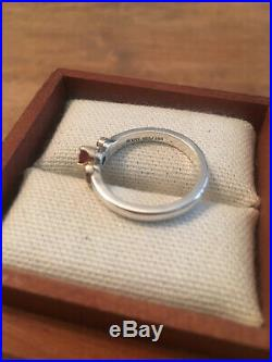 James Avery Garnet 14K Gold Heart & Sterling Silver Ring Sz 7.5, Retired