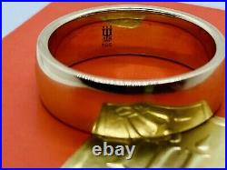 James Avery Gold Wide Athena Wedding Band Ring 1/4 Size 7.5 withbox