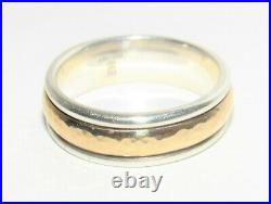 James Avery Hammered Simplicity 14K Gold & SS Wedding Band Ring Size 8.5