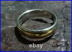 James Avery Hammered Simplicity 14k Gold & 925 Sterlin Wedding Band Ring Size 13