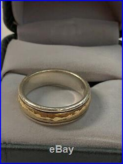 James Avery Hammered Simplicity Band Ring Sz 8.5 14K Yellow Gold Sterling Si