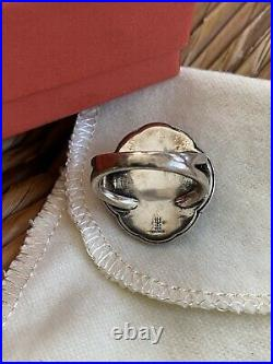 James Avery Heirloom Quatrefoil Blue Quartz Triplet Ring Sz 6.5 Silver & Bronze