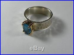 James Avery Julietta 14k Gold Sterling Silver 925 Ring Size 6.5 Blue Topaz