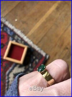 James Avery Lab-Created VASAR Emerald Gemstone 14k Yellow Gold Hammered Ring