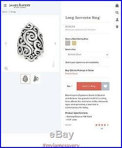 James Avery Long Sorrento Ring 7