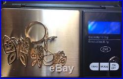 James Avery Mariposa Butterfly Ring Pendant & Earrings Set 14k GoldGUC
