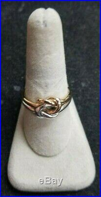 James Avery Original Lovers Knot Ring Sterling Silver & 14K Yellow Gold. Size 10