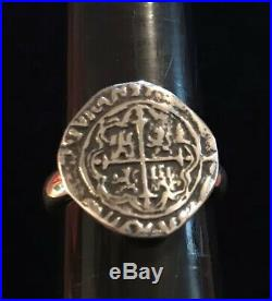 James Avery Pieces Of Eight Coin Ring Sterling Silver Size 8 Rare Retired
