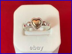 James Avery RETIRED 14K Gold and Sterling Silver True Heart Ring Size 7
