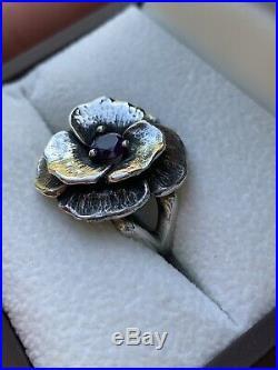 James Avery Rare Amethyst Flower Ring Size 5.5