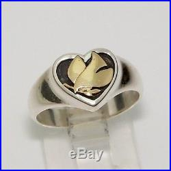 James Avery Retired 14K Gold Sterling Silver Peace Dove Heart Ring Sz 5.5 LDA49