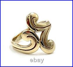 James Avery Retired 14K Yellow Gold Swirl Ring Hallmarked Dynamic Movement