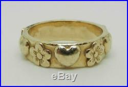 James Avery Retired 14k Gold Hearts And Flowers Ring Band Size 3.5 Lb2996