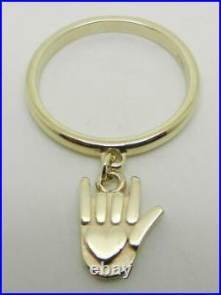 James Avery Retired 14k Gold Sign Of Love Dangle Ring Size 8 Rare- Lb3191
