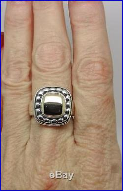 James Avery Retired 14k Gold Sterling Silver Square Beaded Dome Ring Lb-c1508