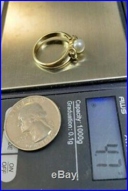 James Avery Retired 14k Scroll Ring Cultured Pearl Sz7 Near Mint Condition