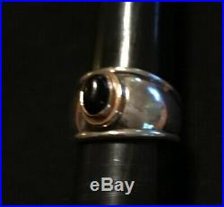 James Avery Retired 18k Gold Sterling Silver Onyx Christina Ring Size 6.5