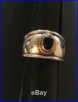 James Avery Retired 18k Sterling Silver Onyx Christina Ring Size 8