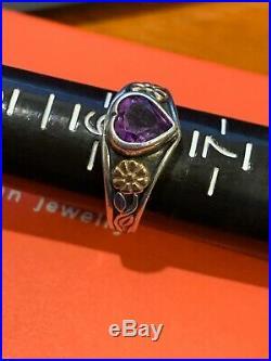 James Avery Retired 925SS & 14k Gold Amathyst Heart Ring Sz 6.25 Gift Bx