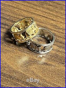 James Avery Retired Armadillo Rings 14k Gold & Sterling Silver