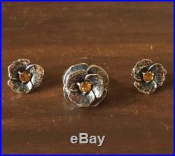 James Avery Retired Citrine Flower Ring And Earrings Set Sterling