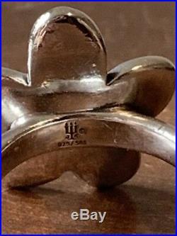 James Avery Retired Flower Ring 14k Gold Center Sterling Silver