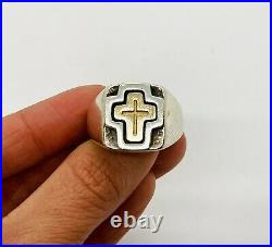 James Avery Retired Gold Cross Signet Ring 14k and Sterling Silver Size 10