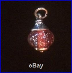 James Avery Retired Love Finial Frosted Red Art Glass Bead Charm Jump Ring Cut