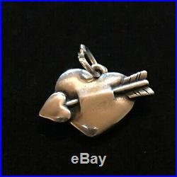 James Avery Retired Love Struck Heart Arrow Charm Sterling Silver Ring Is Cut