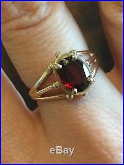 James Avery Retired Rare 14k Gold Sencillo Garnet Ring