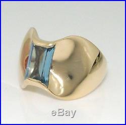 James Avery Retired Rare Monaco 14K Gold Blue Topaz Wide Ring Sz 7.5 LQ3-G