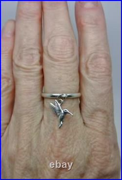 James Avery Retired Sterling Hummingbird Charm Dangle Ring Size 6.5 Lb-c1520