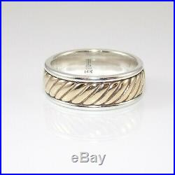 James Avery Retired Sterling Silver 14K Yellow Gold Wedding Band Ring 9 GGC
