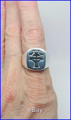 James Avery Retired Sterling Silver 14k Gold Celtic Cross Ring Sz 8.75- Lb-c1779