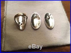 James Avery Retired Sterling Silver Bluebonnet Ring AND Earrings- HTF