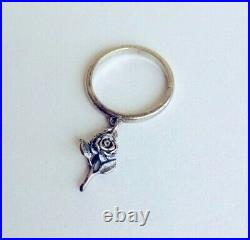 James Avery Retired Sterling Silver Rose Dangle Charm Ring