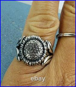 James Avery Retired Sunflower Ring Sz8.25 Mint Condition Sterling