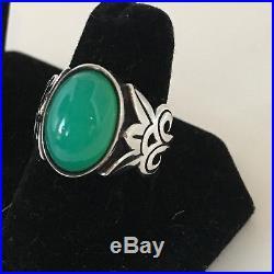 James Avery Ring Chrysoprase Green Oval Stlering Floral Design Retired RARE